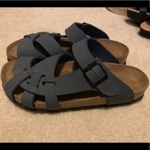 Navy Birkenstock sandals. Soft footbed.38